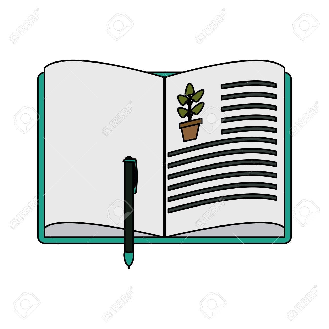 foto de archivo libro abierto con planta dibujo ciencia relacionada icono imagen vector ilustracin diseo