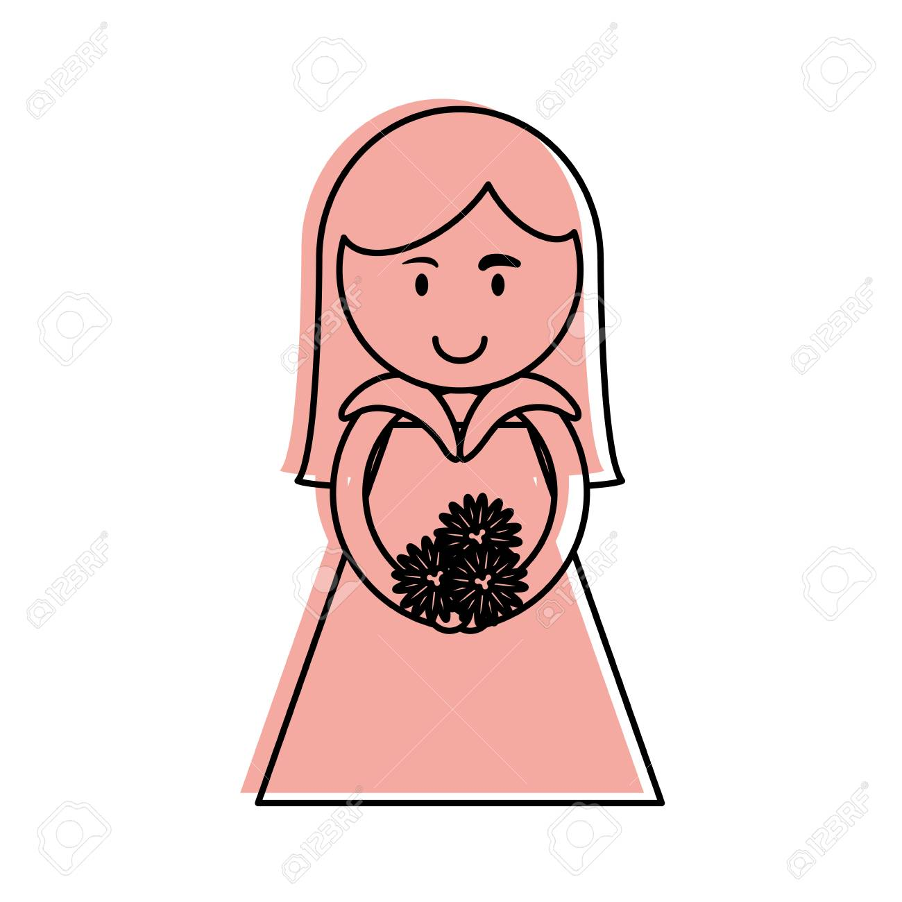 Cute woman holding flower bouquet cartoon icon image vector cute woman holding flower bouquet cartoon icon image vector illustration design pink color stock vector izmirmasajfo