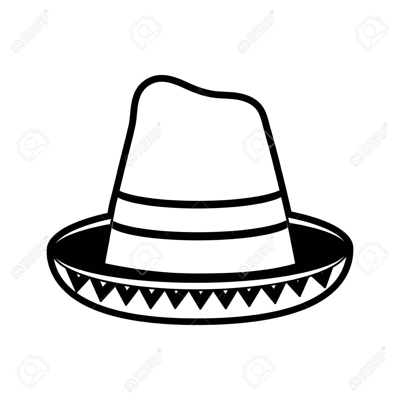 Sombrero tradicional cultura mexicana icono imagen vector ilustración  diseño en blanco y negro Foto de archivo f17b515d6e0