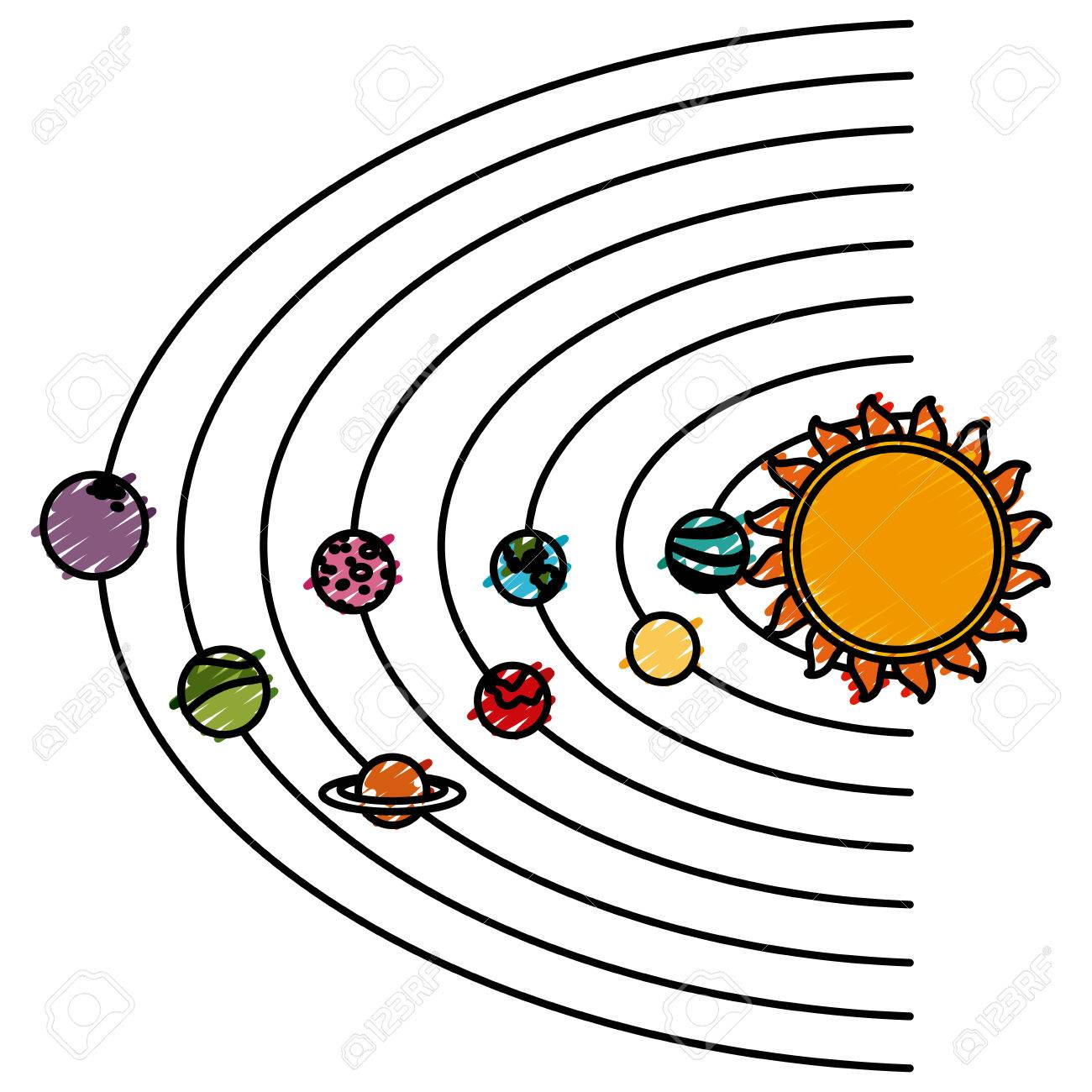 solar system cartoon icon vector illustration graphic design royalty rh 123rf com solar system clipart black and white solar system clip art black and white