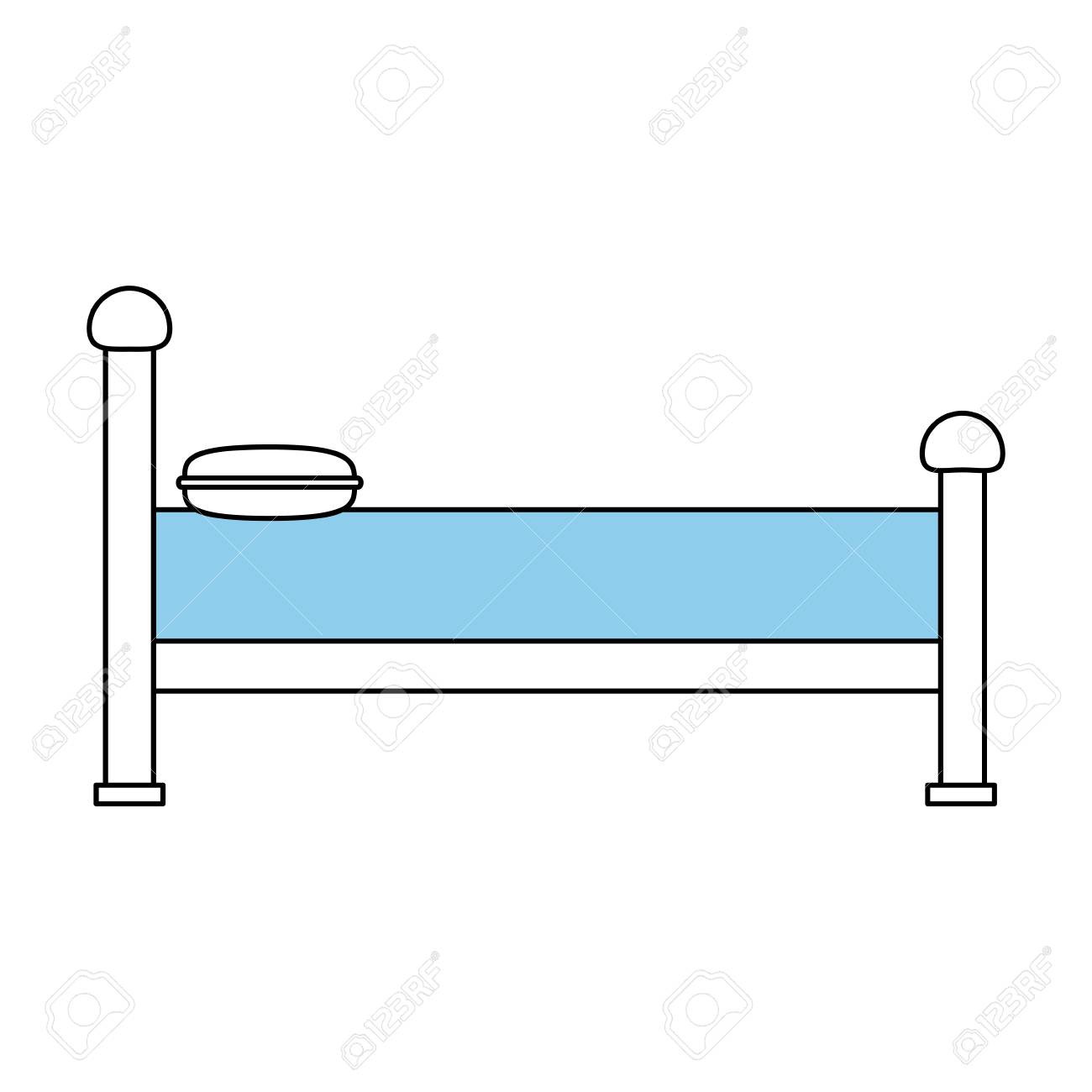 Bed Side View Contemporary Sideview Icon Image Vector Illustration Design Sketch Style Stock