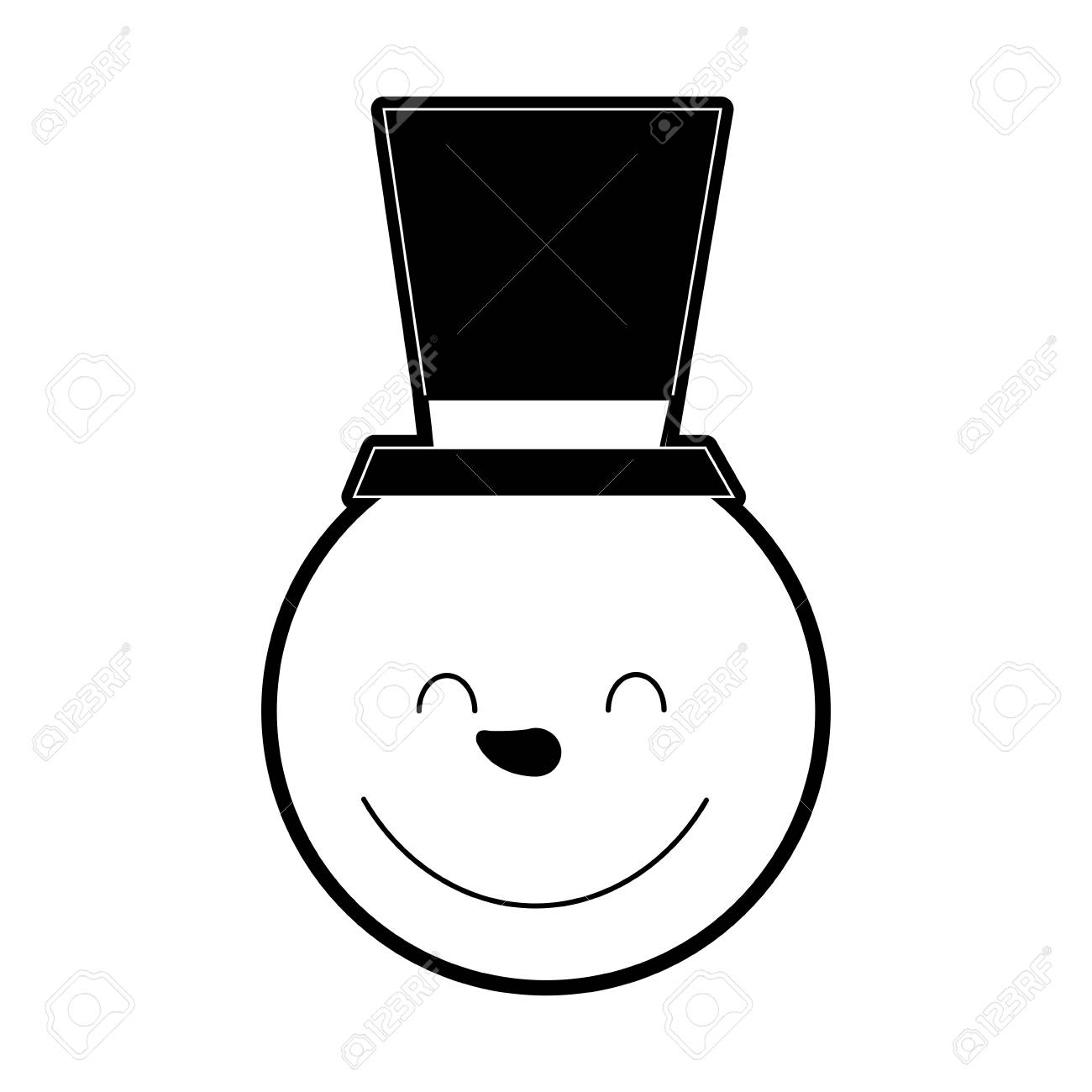 Simple Snowman Wearing a Red Scarf and a Black Top Hat clipart.  Royalty-free GIF, WMF, SVG clipart # 143259   Graphics Factory