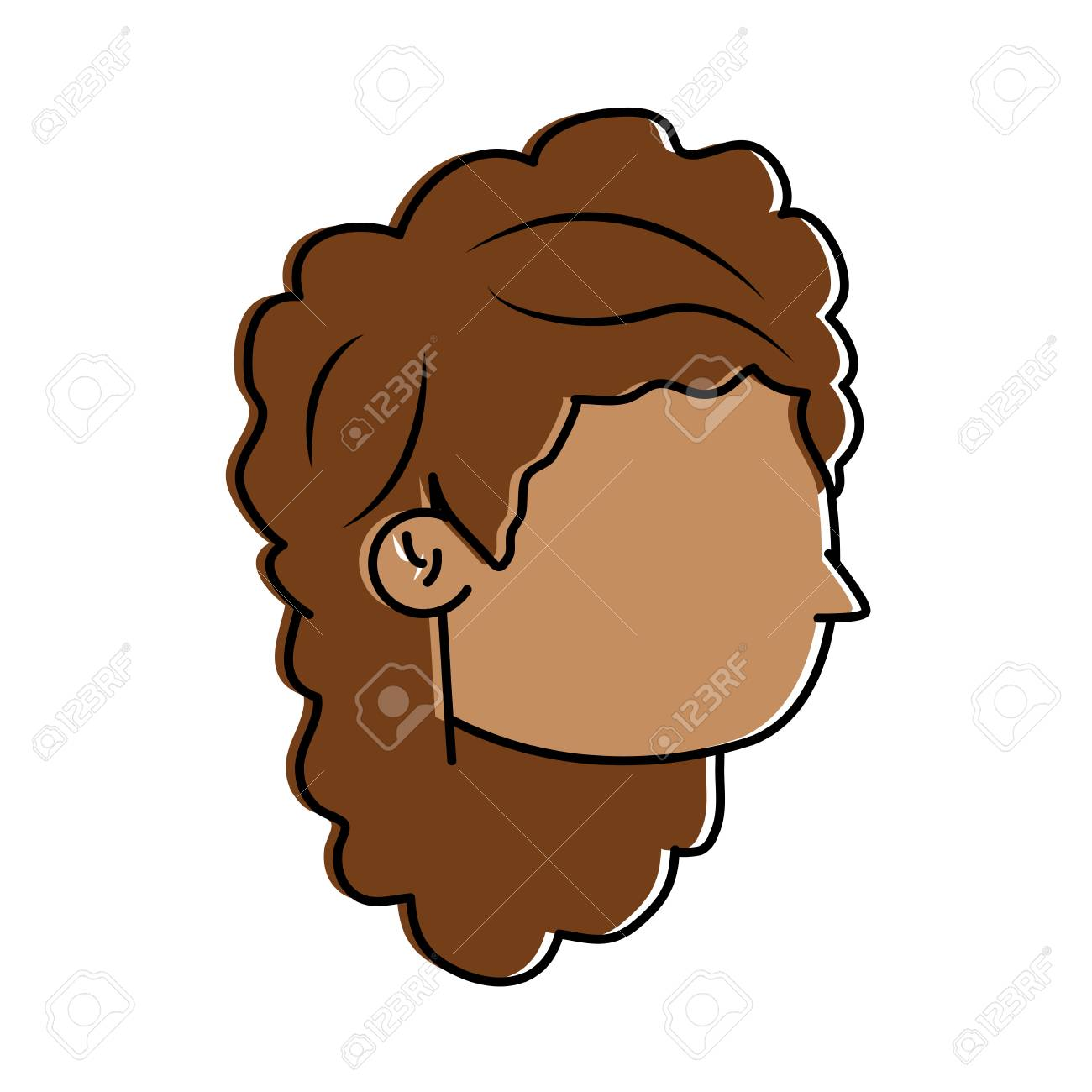 Woman Avatar Head With Long Curly Hair Icon Image Vector