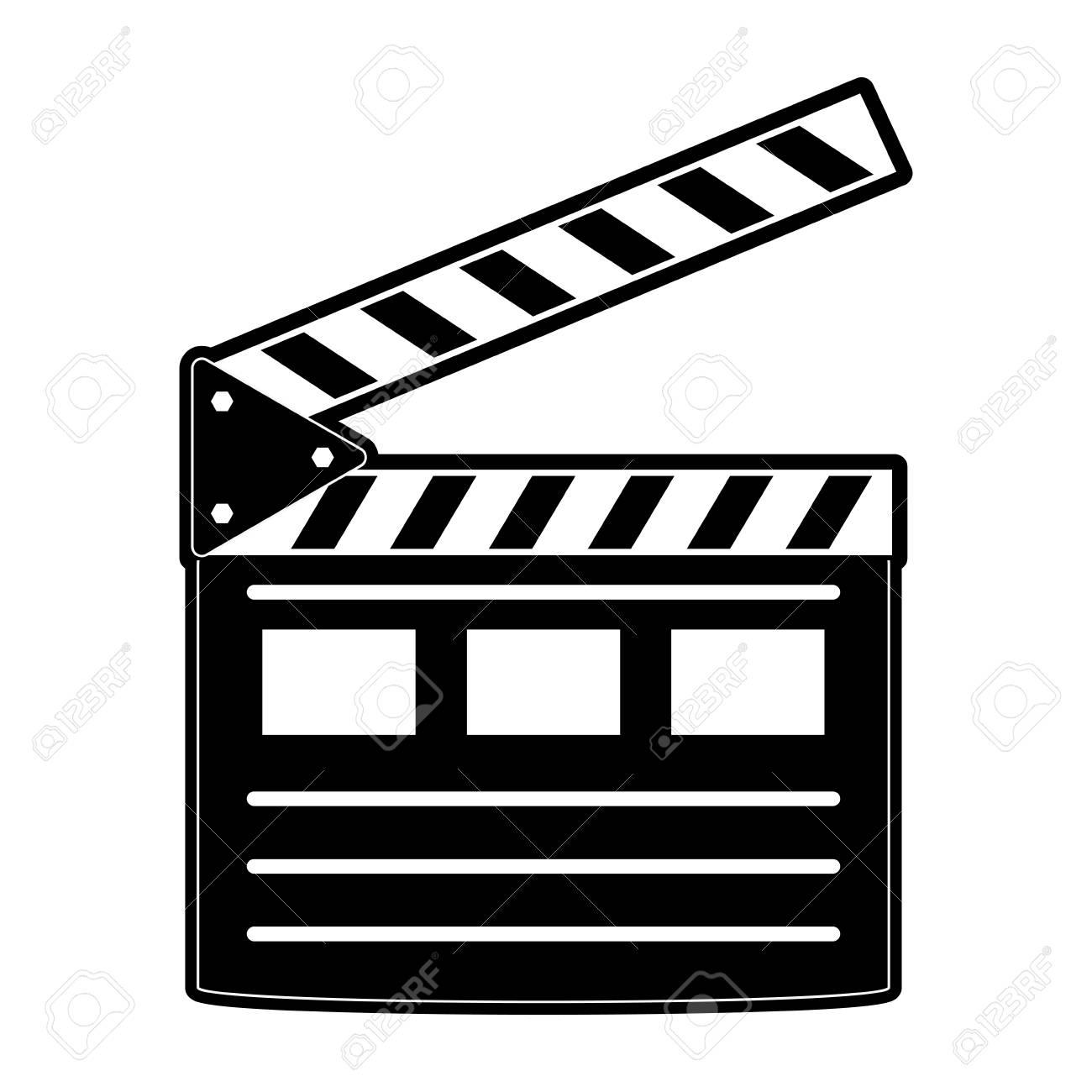 Clapperboard Cinema Icon Image Vector Illustration Design Black
