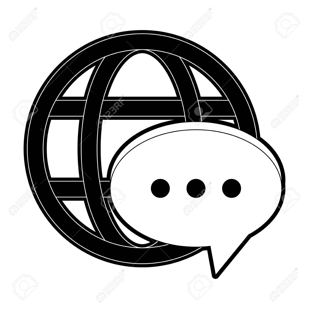 Banque dimages chat bubble global messaging icon image vector illustration design black and white