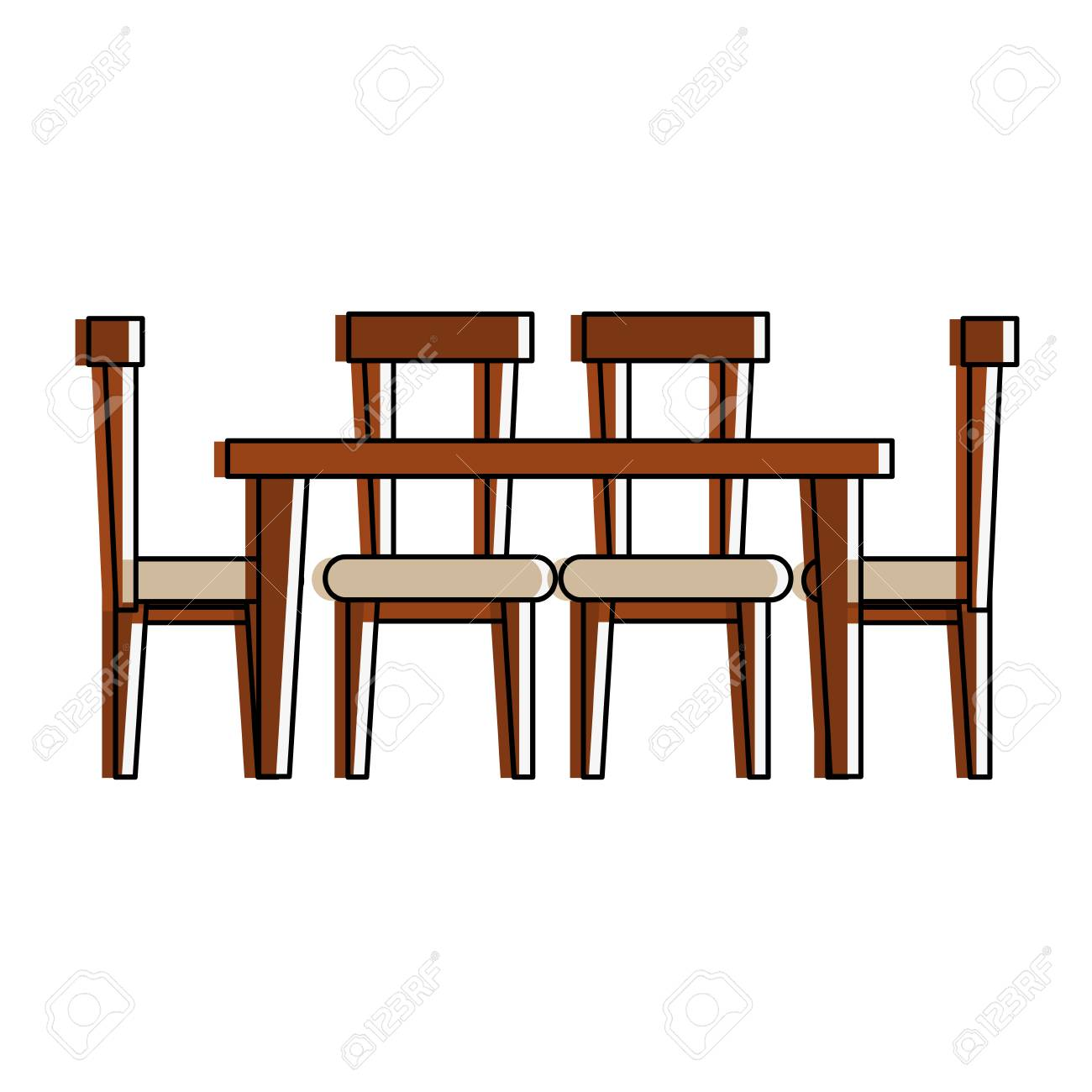Dining Table With Chairs Frontview Furniture Icon Image Vector Illustration Design Stock