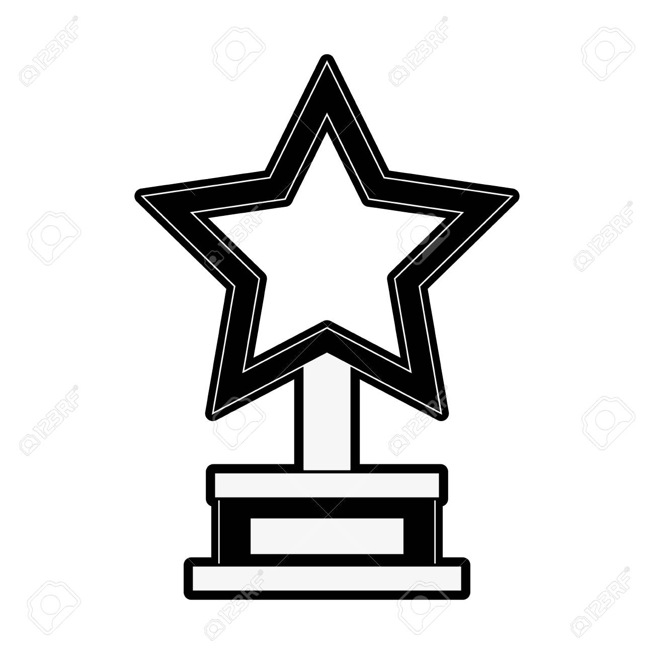 Vector black trophy and awards icon set Clipart Image