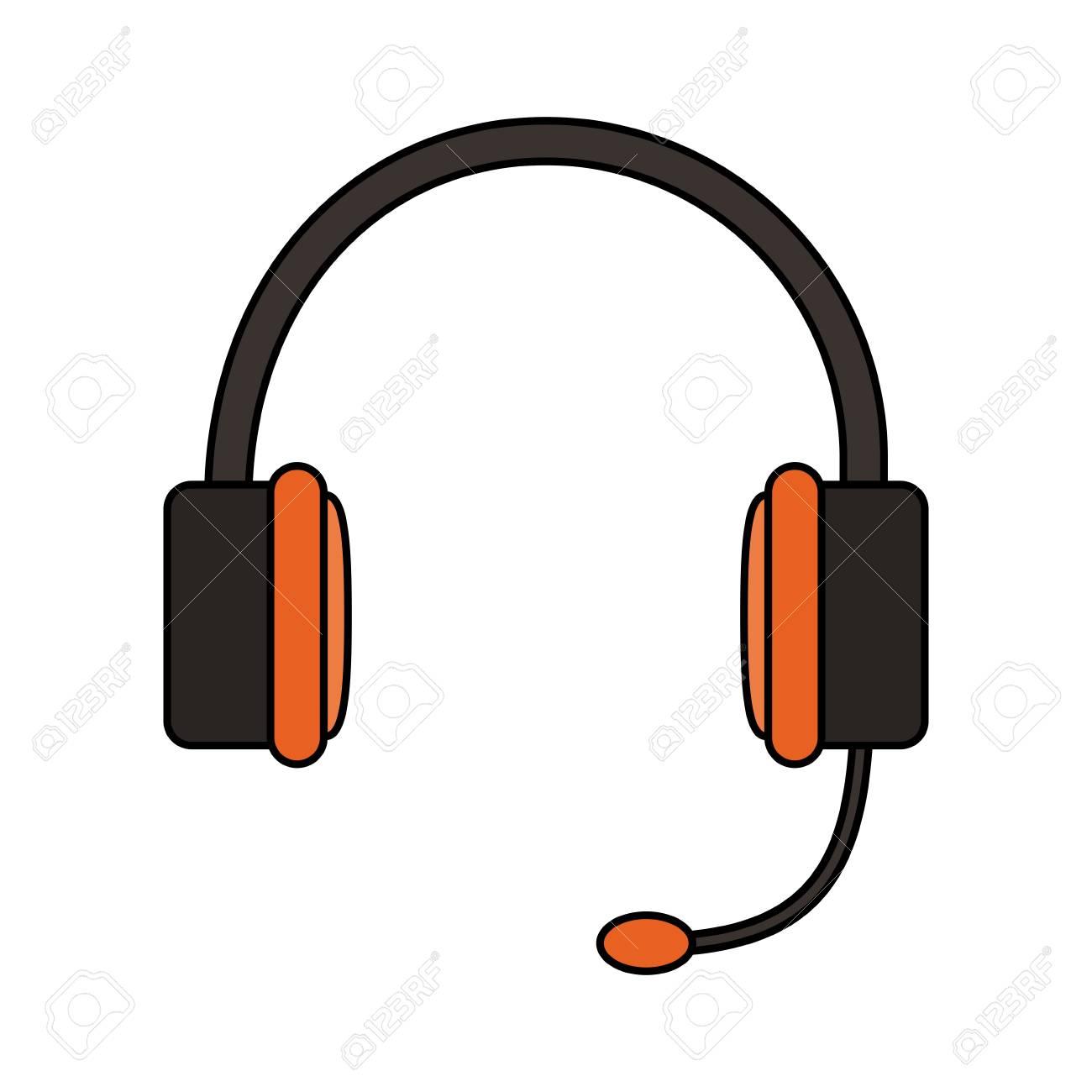 Kopfhörer-Kopfhörer Mikrofon-Symbol Bild Vektor-Illustration Design ...