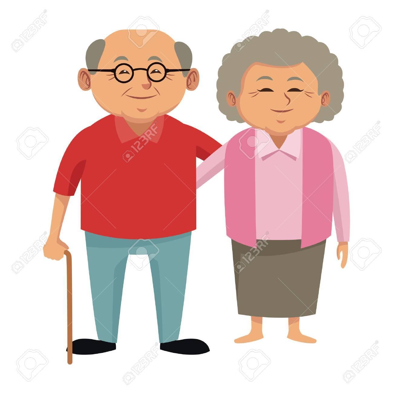 Cute grandparents couple cartoon icon vector illustration graphic design - 87224039