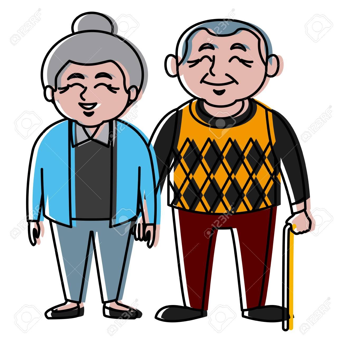 Banque d images - Mignon grands-parents couple dessin animé icône vector  illustration design graphique 485862f55e4c