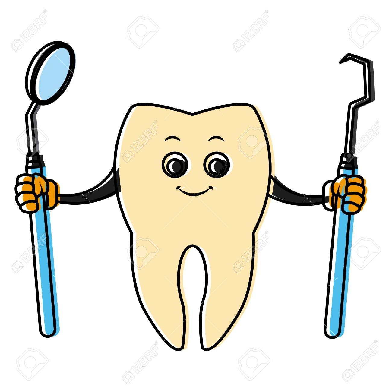 Tooth With Dental Tools Cartoon Icon Vector Illustration Graphic Design Stock