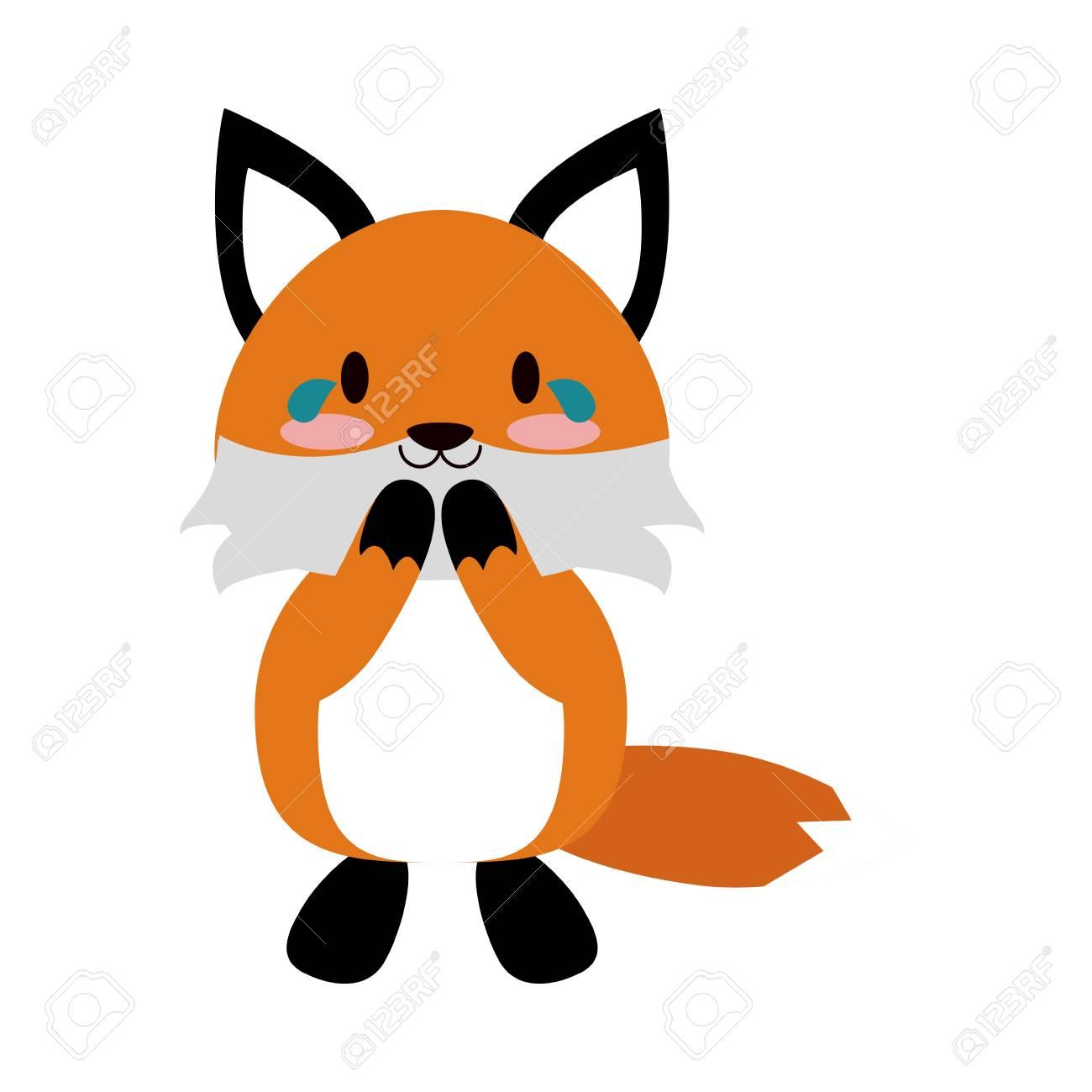 キツネかわいい動物漫画アイコン画像ベクトル イラスト デザインを泣い