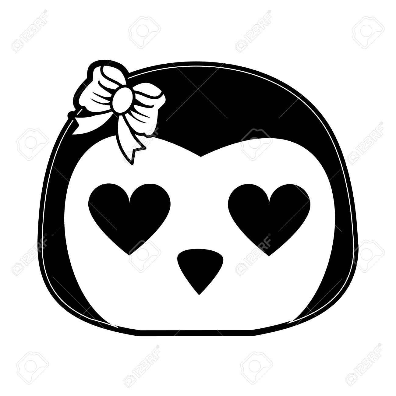 心の目かわいい動物漫画アイコン画像ベクトル イラスト デザイン黒と白の
