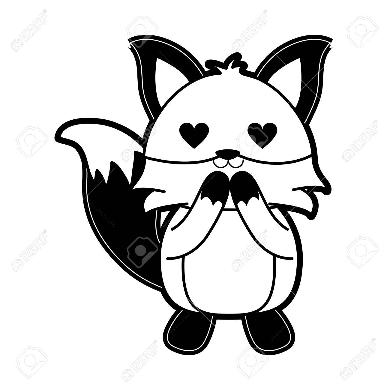 Renard Avec Des Yeux De Coeur Mignon Dessin Anime Animal Icone