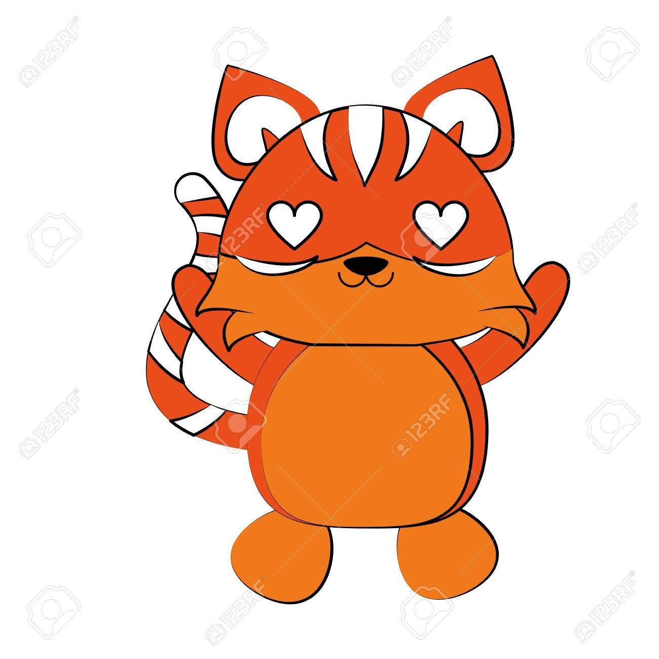 虎心の目かわいい動物漫画アイコン画像とベクトル イラスト デザイン