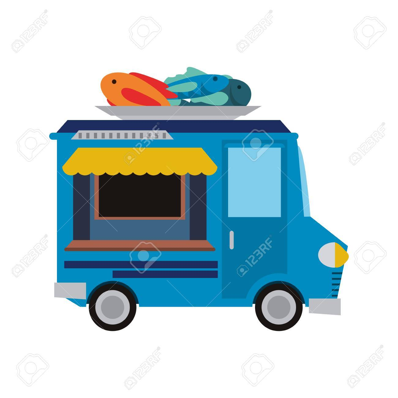 Food Truck Icon Image Colorful Cartoon Illustration Design Stock Vector