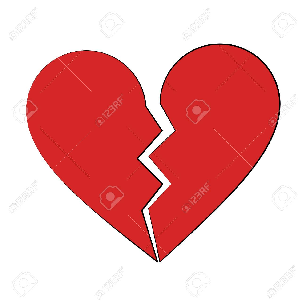 Coeur Brise Dessin Anime Icone Image Vector Illustration Design Clip