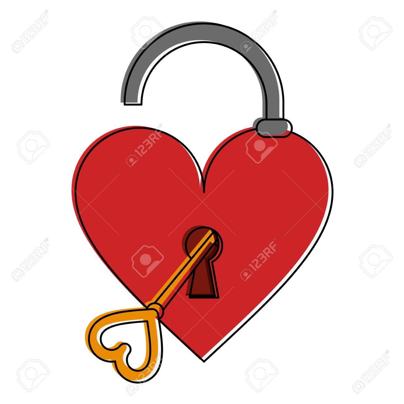 Open heart shape safety lock with key valentines day related open heart shape safety lock with key valentines day related icon image vector illustration design stock buycottarizona Gallery