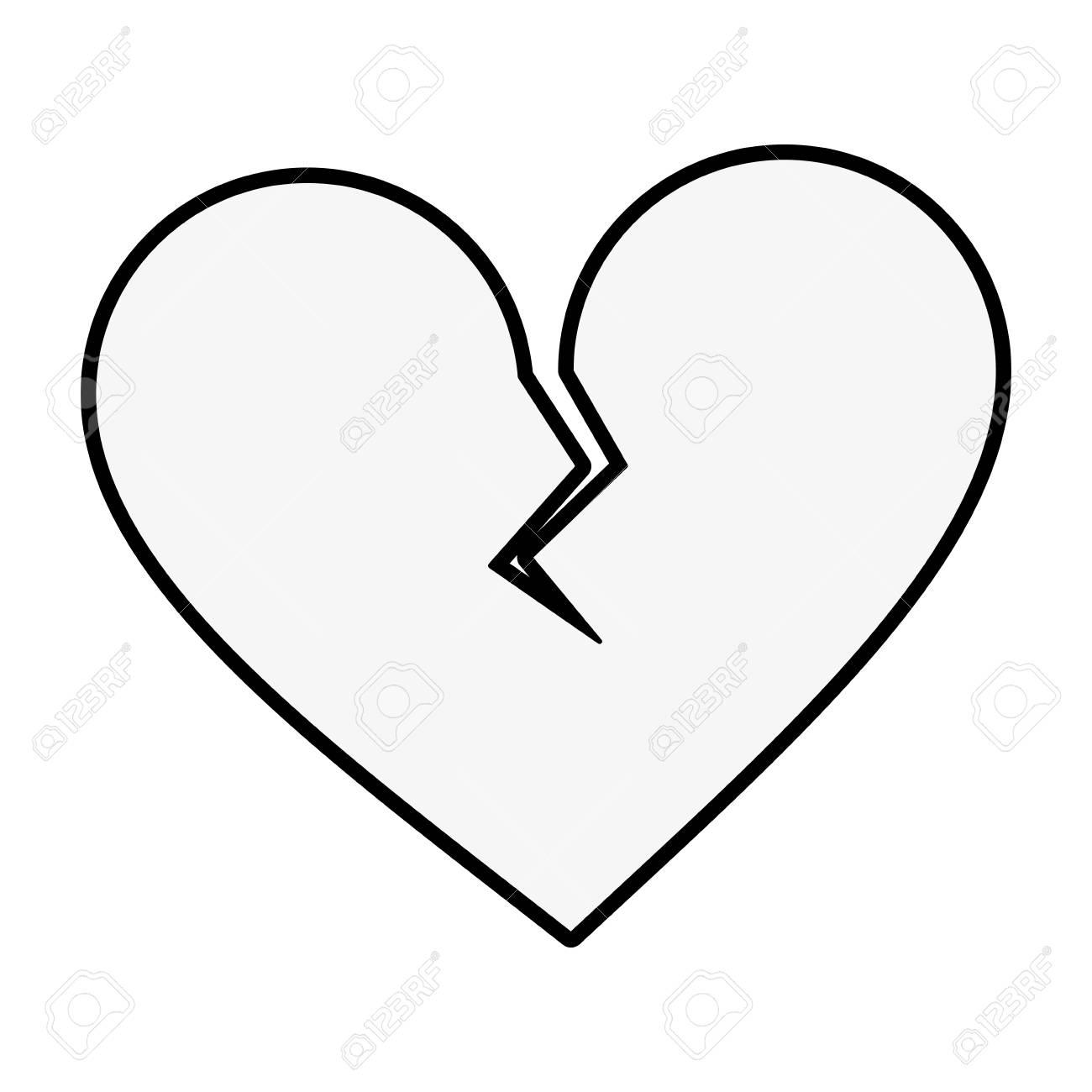 Coeur Brise Dessin Anime Icone Image Vector Illustration Design Noir