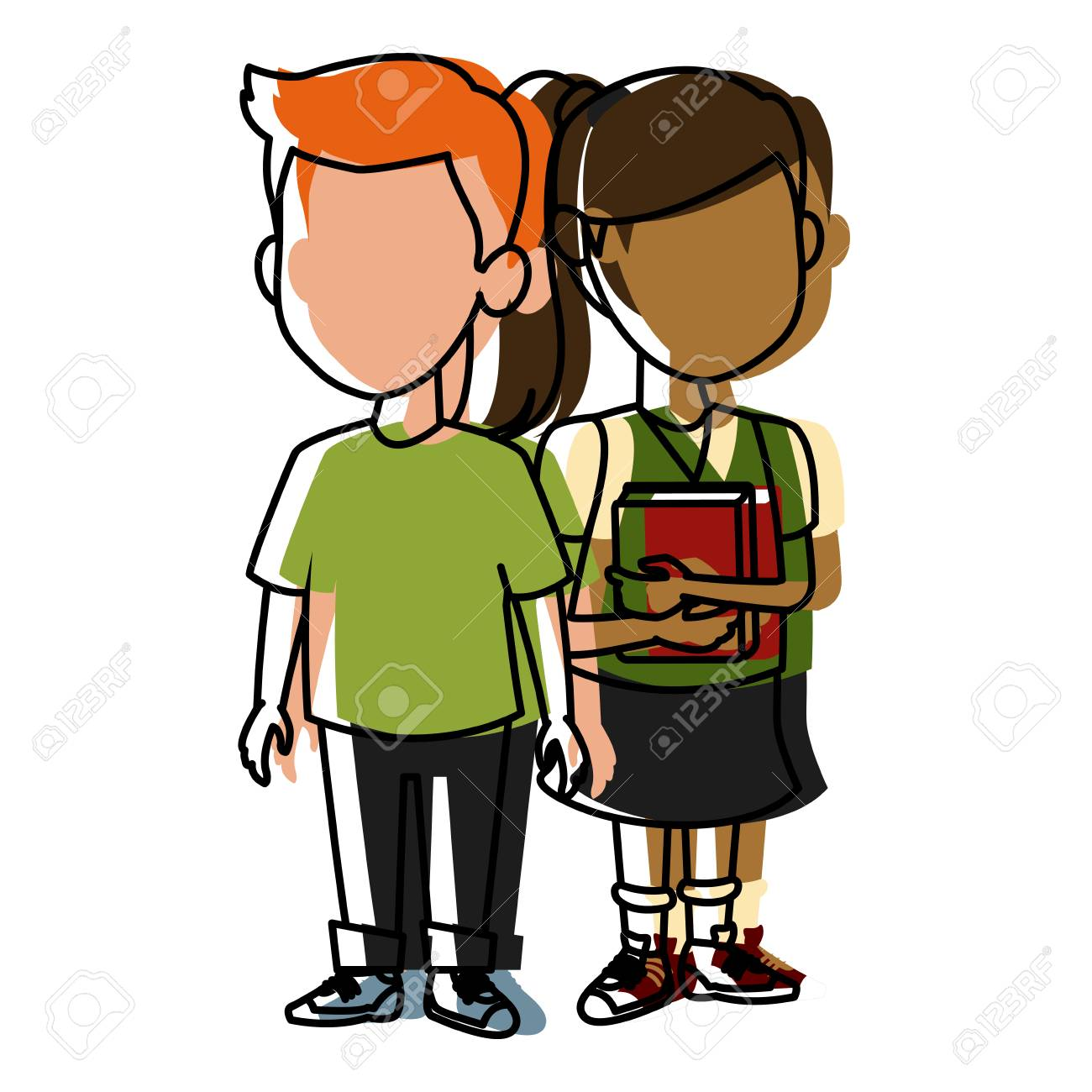 School Kids Friends Cartoon Icon Vector Illustration Royalty Free