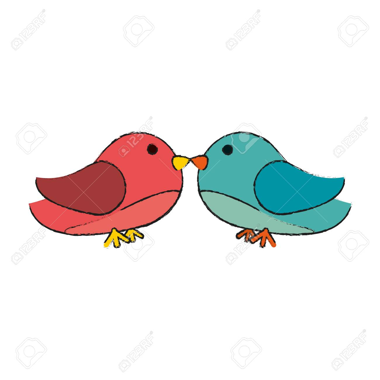 Lovebirds Heart Icon Image Vector Illustration Design Royalty Free ...