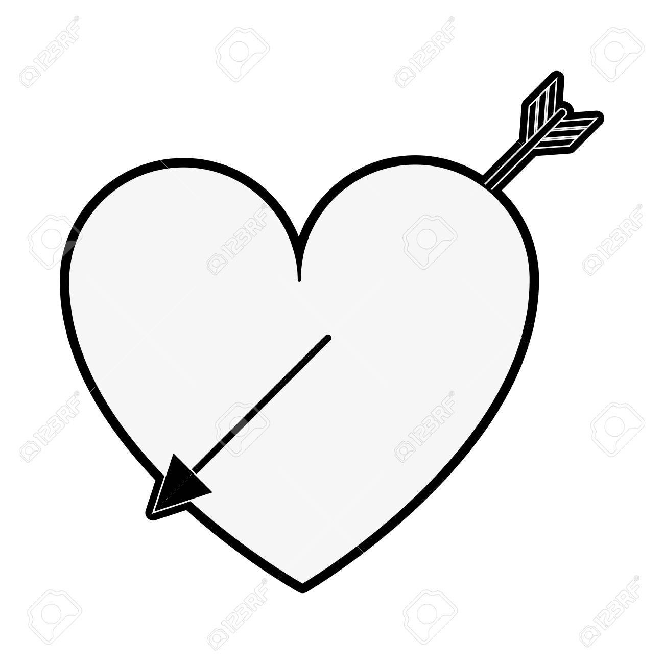 Heart Cartoon With Arrow Valentines Day Related Icon Image Vector