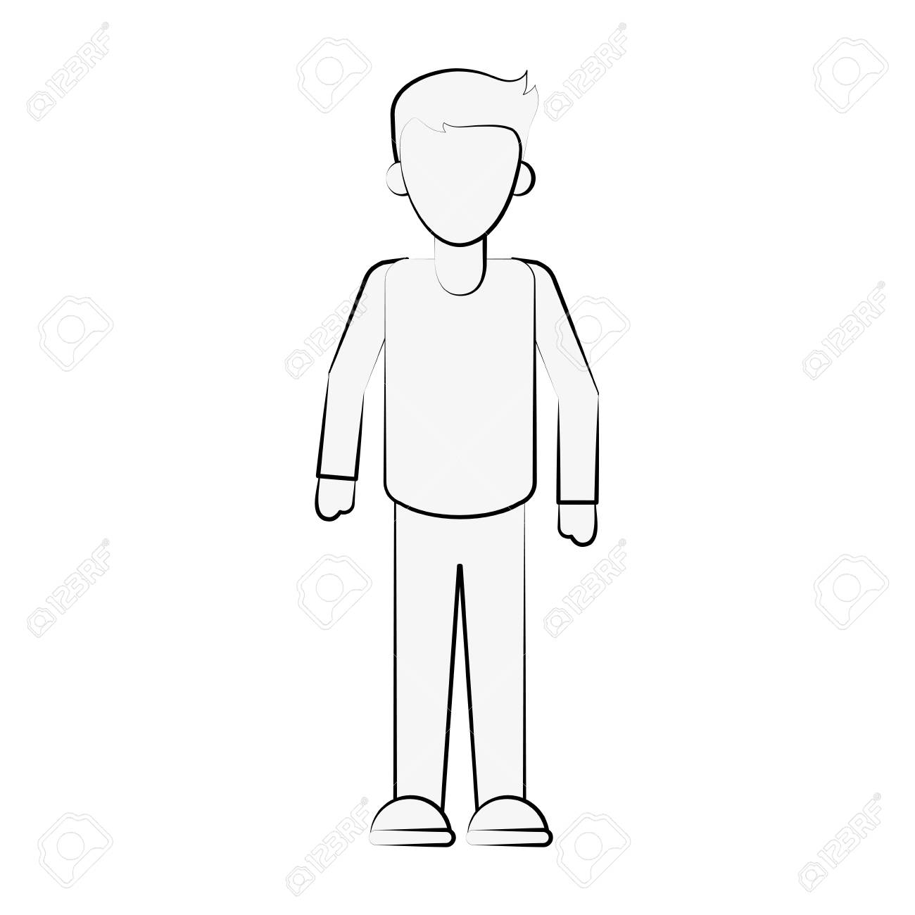Man avatar full body icon image vector illustration design black sketch line stock vector 88887032