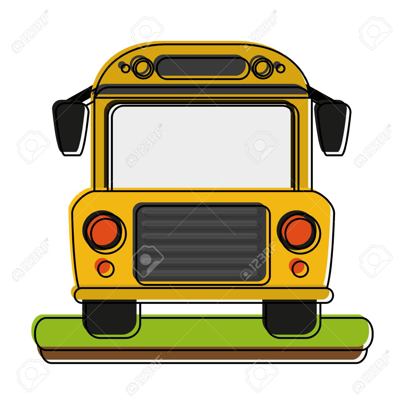 school bus front view icon illustration royalty free cliparts rh 123rf com Racing Tire Clip Art Bus Stop Sign Clip Art