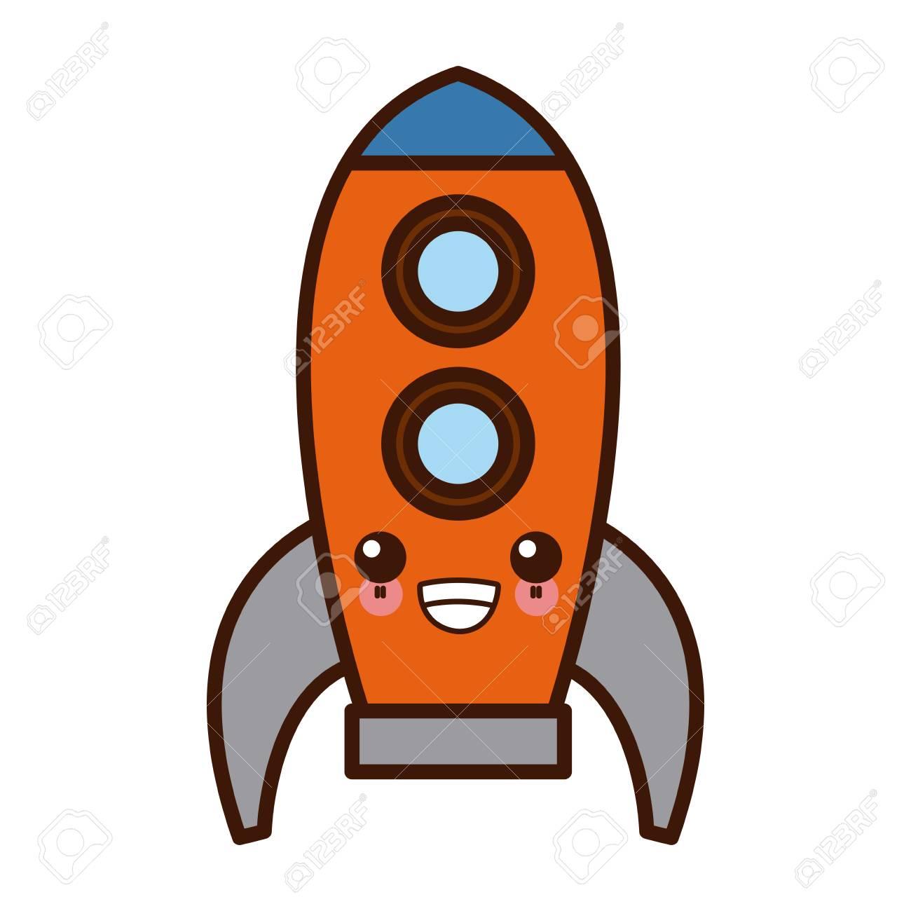 宇宙船ロケット シンボルかわいいかわいい漫画ベクトル イラスト