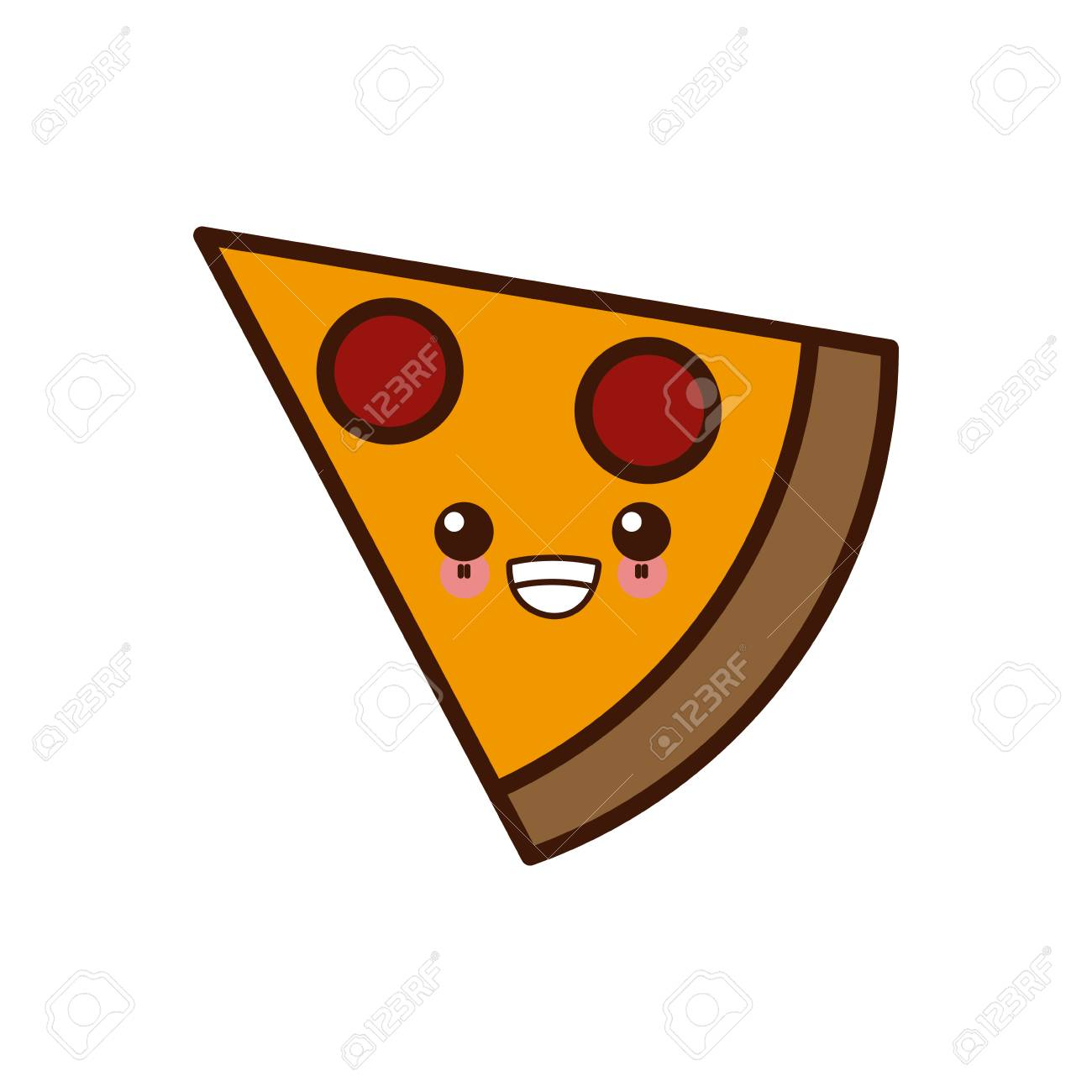 Symbole De La Diapositive Pizza Kawaii Dessin Animé Mignon Vector Illustration Design