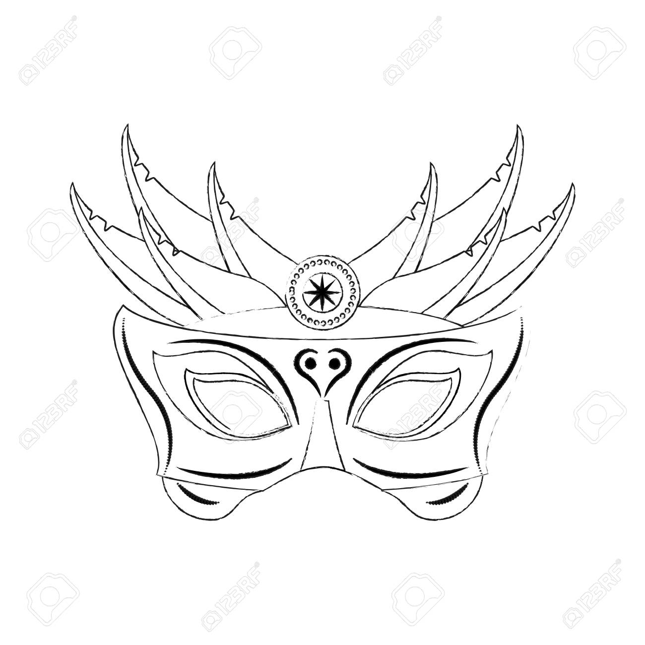 mardi gras mask icon vector illustration graphic design royalty free