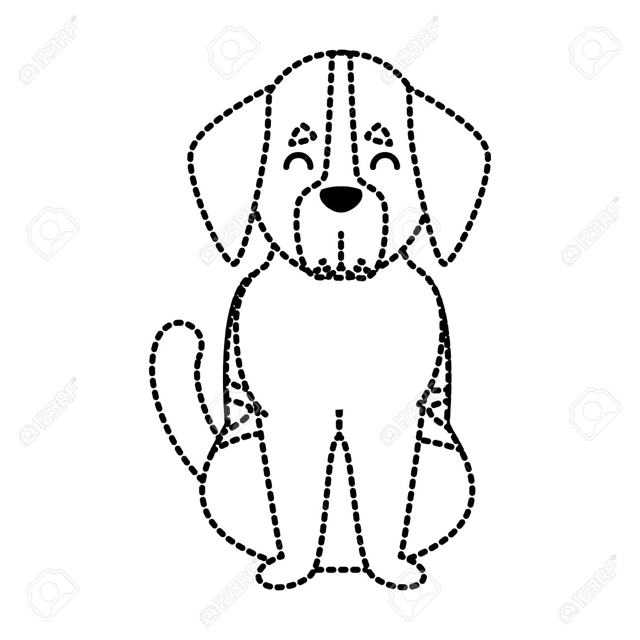 Cute Dog Cartoon Icon In Dotted Line Illustration Royalty Free ...