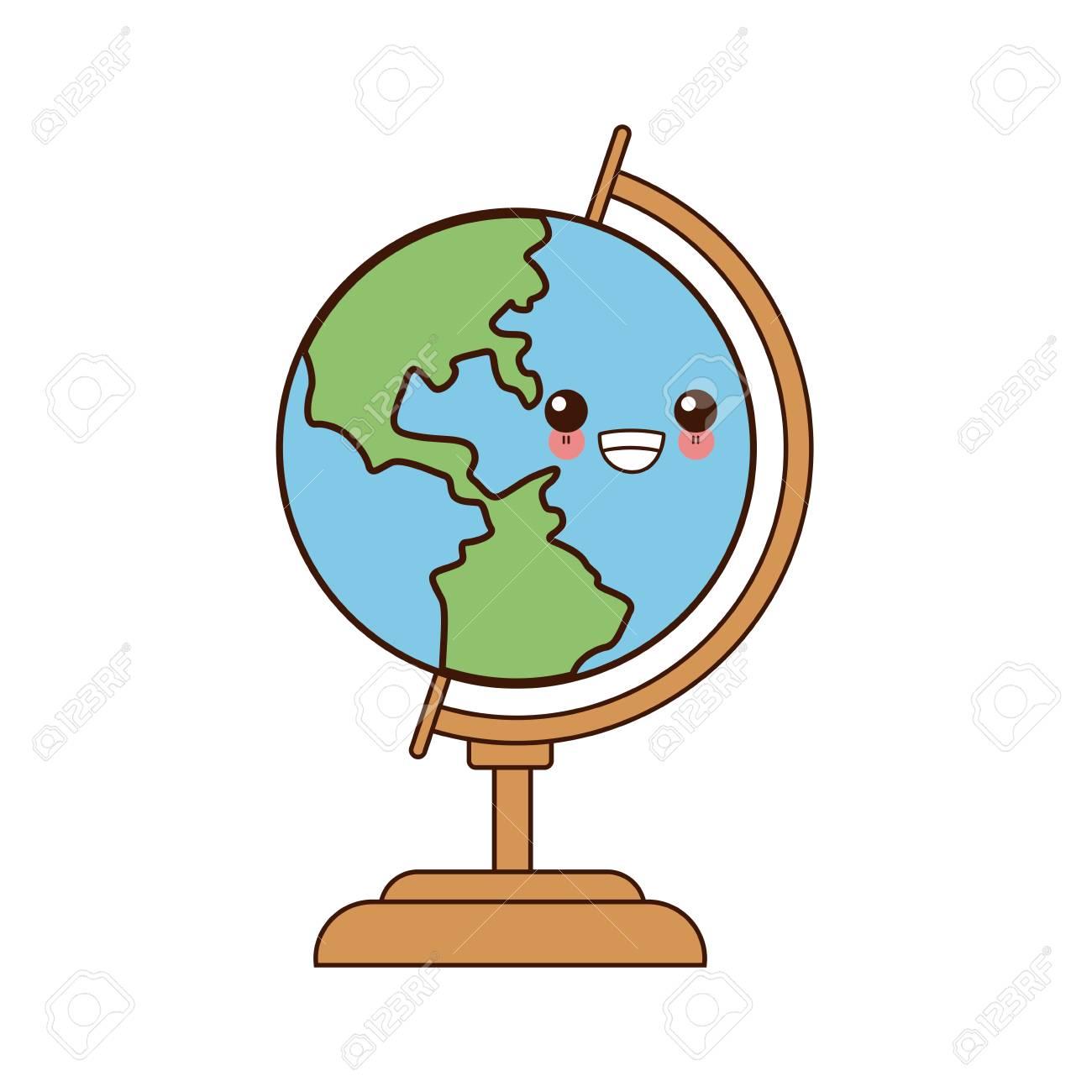 School World Globe Cute Cartoon Vector Illustration Royalty Free