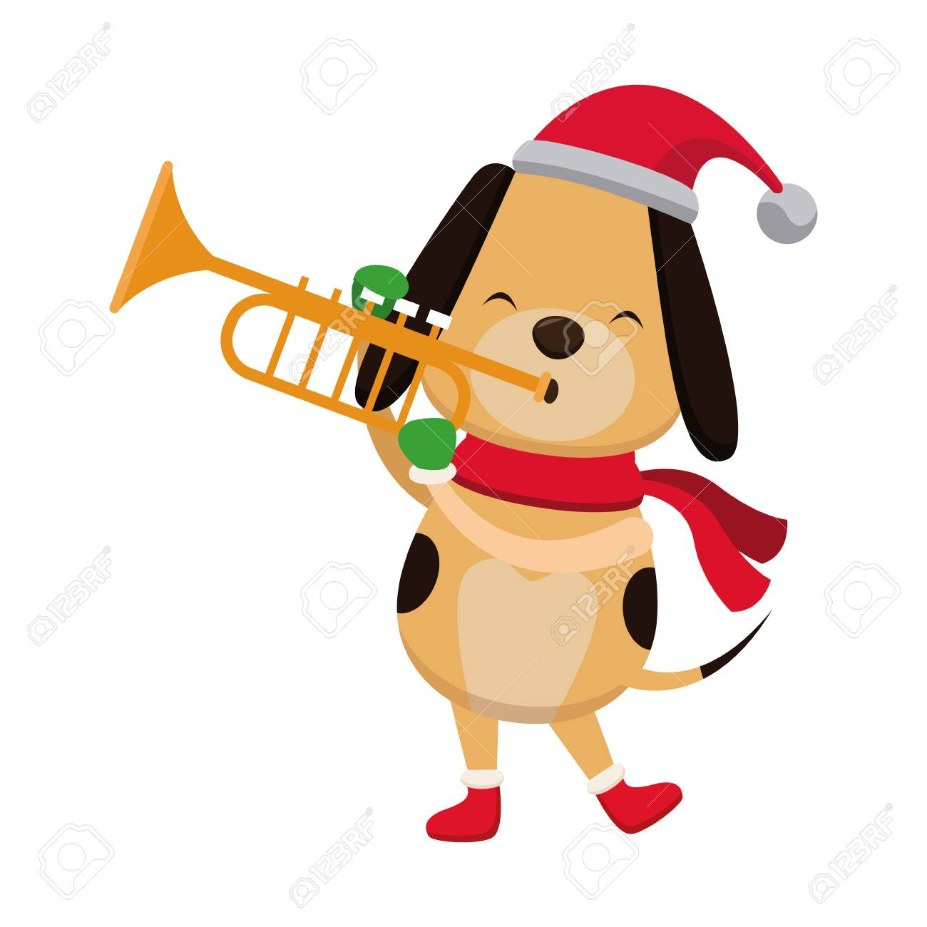 Christmas Trumpet Images.Christmas Dog With Trumpet Cartoon Icon Vector Illustration Graphic