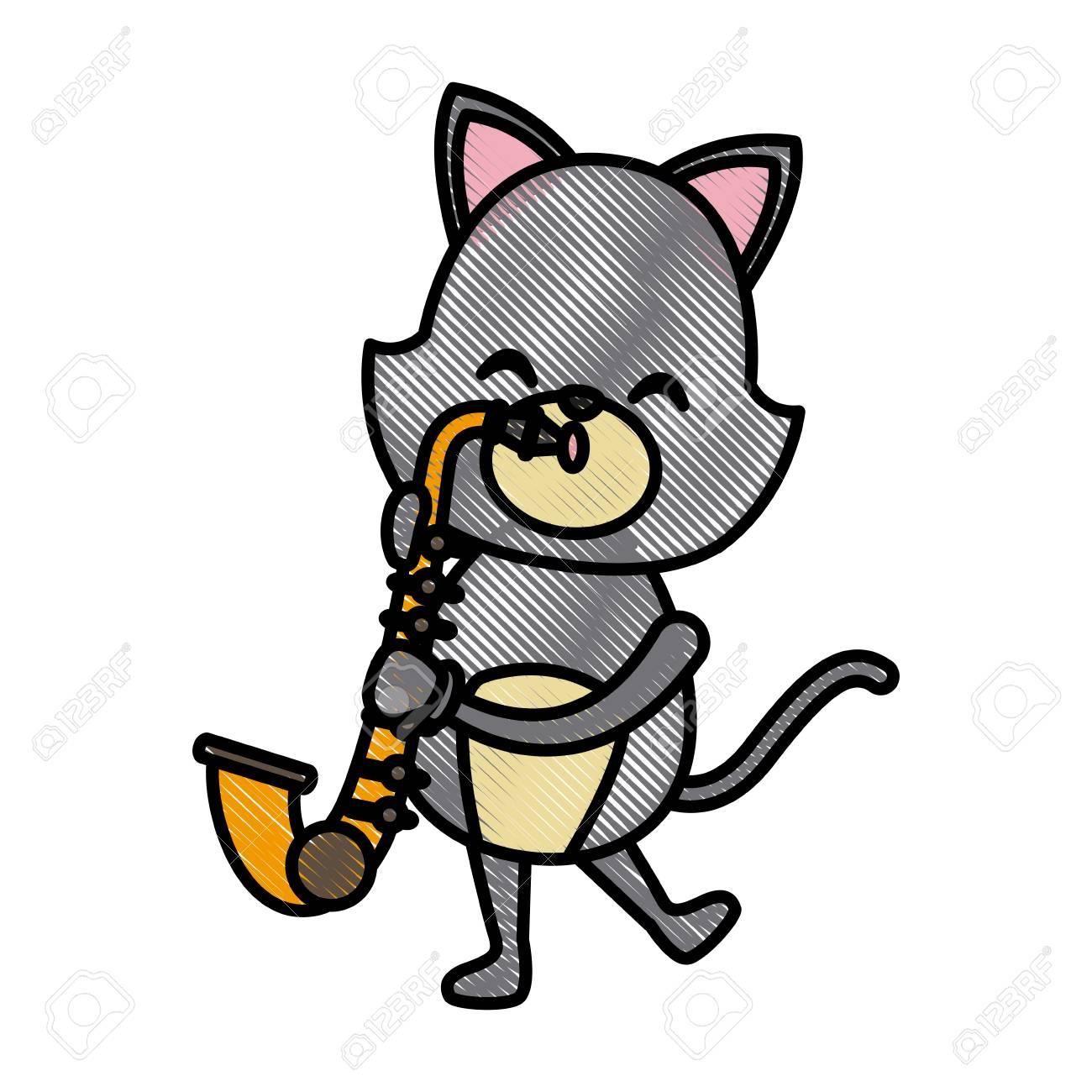 かわいい猫サックス漫画アイコン ベクトル イラスト グラフィック