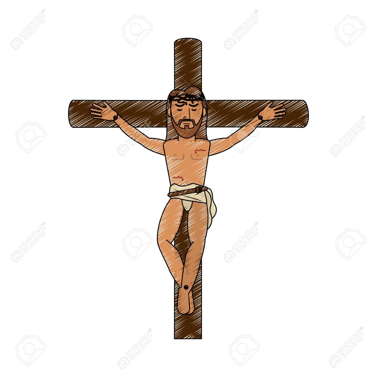 Crucified Jesus cartoon icon vector illustration graphic design - 92029854