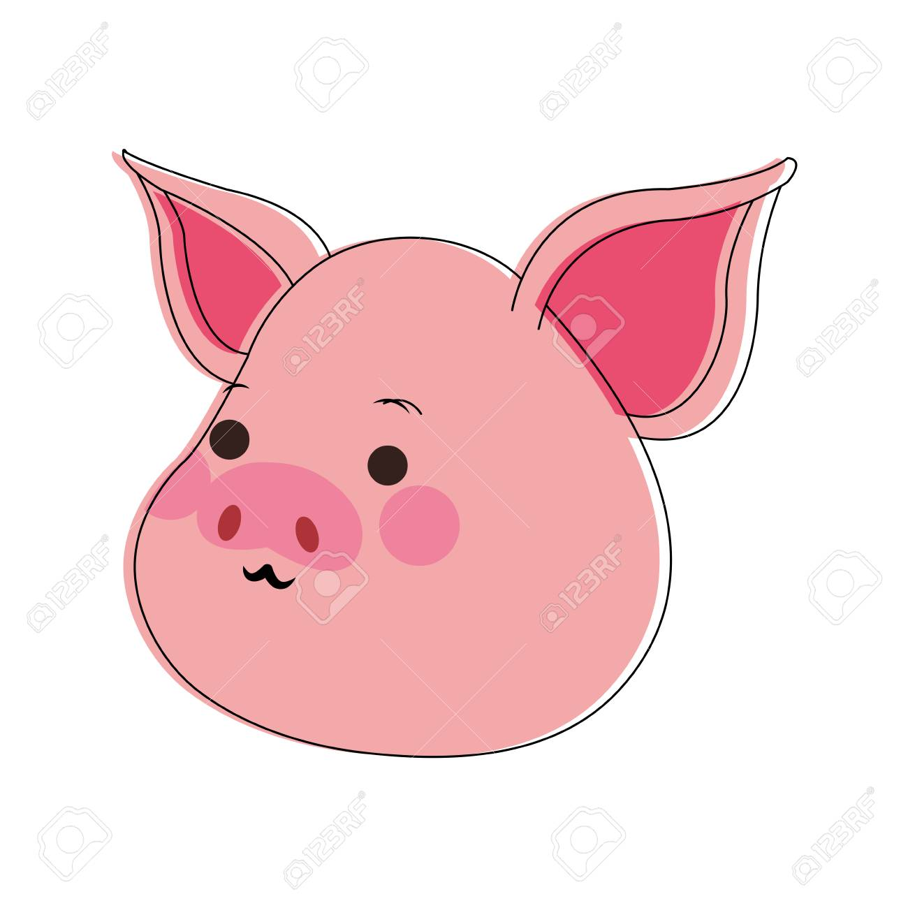豚かわいい漫画のアイコン ベクトル イラストグラフィック デザイン