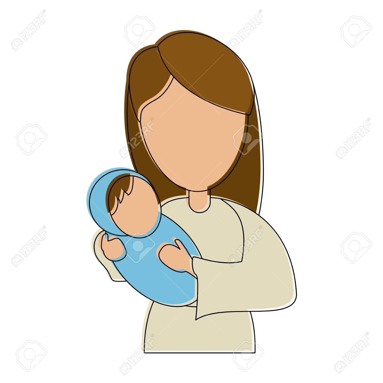 Virgin mary holding baby jesus. Saint virgin mary holding baby jesus  christ. christmas vector pattern, textile print,