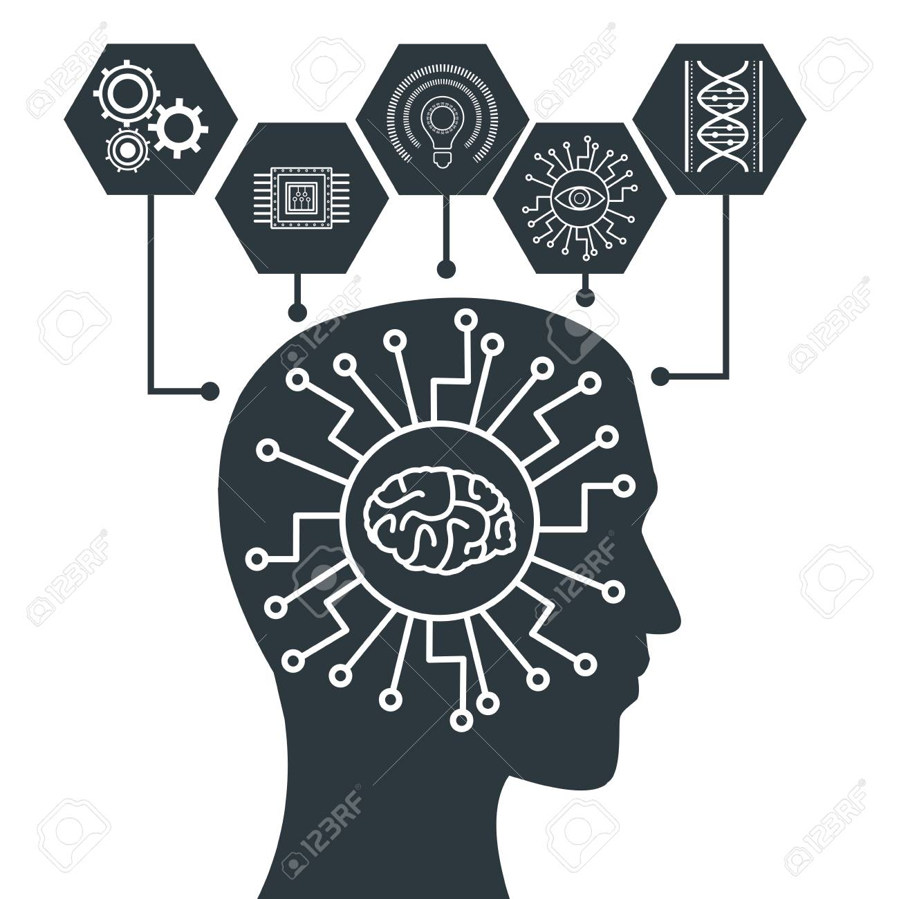 Robot artificial intelligence icon vector illustration graphic design Stock Vector - 92426236