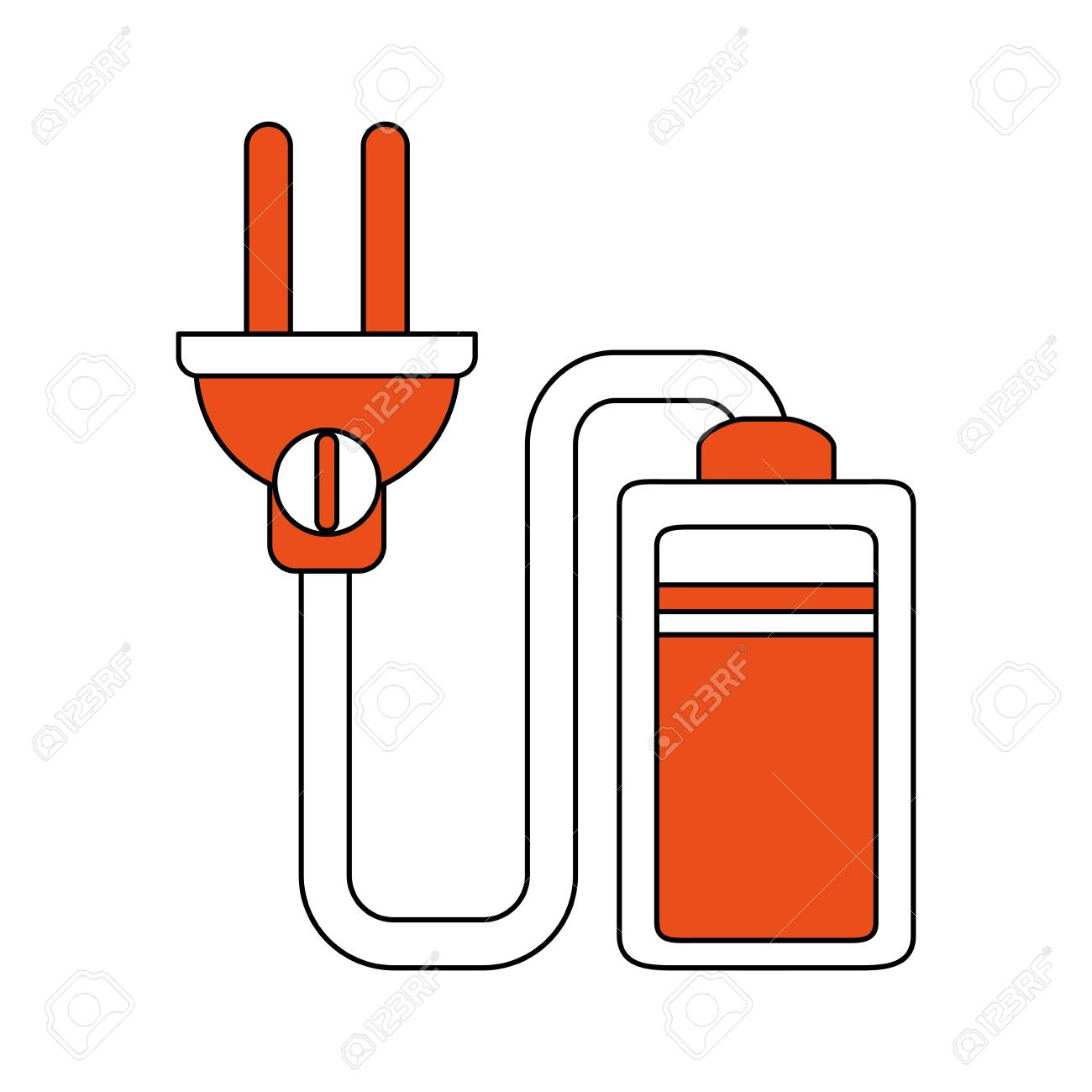 Battery With Electric Wire Icon Vector Illustration Graphic Design ...