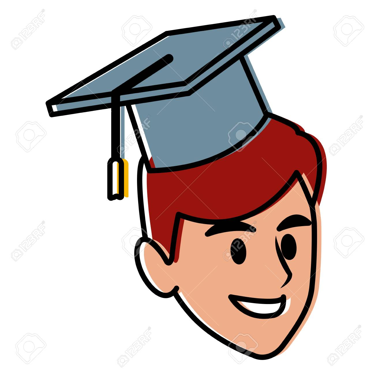 student man with graduation hat icon vector illustration graphic