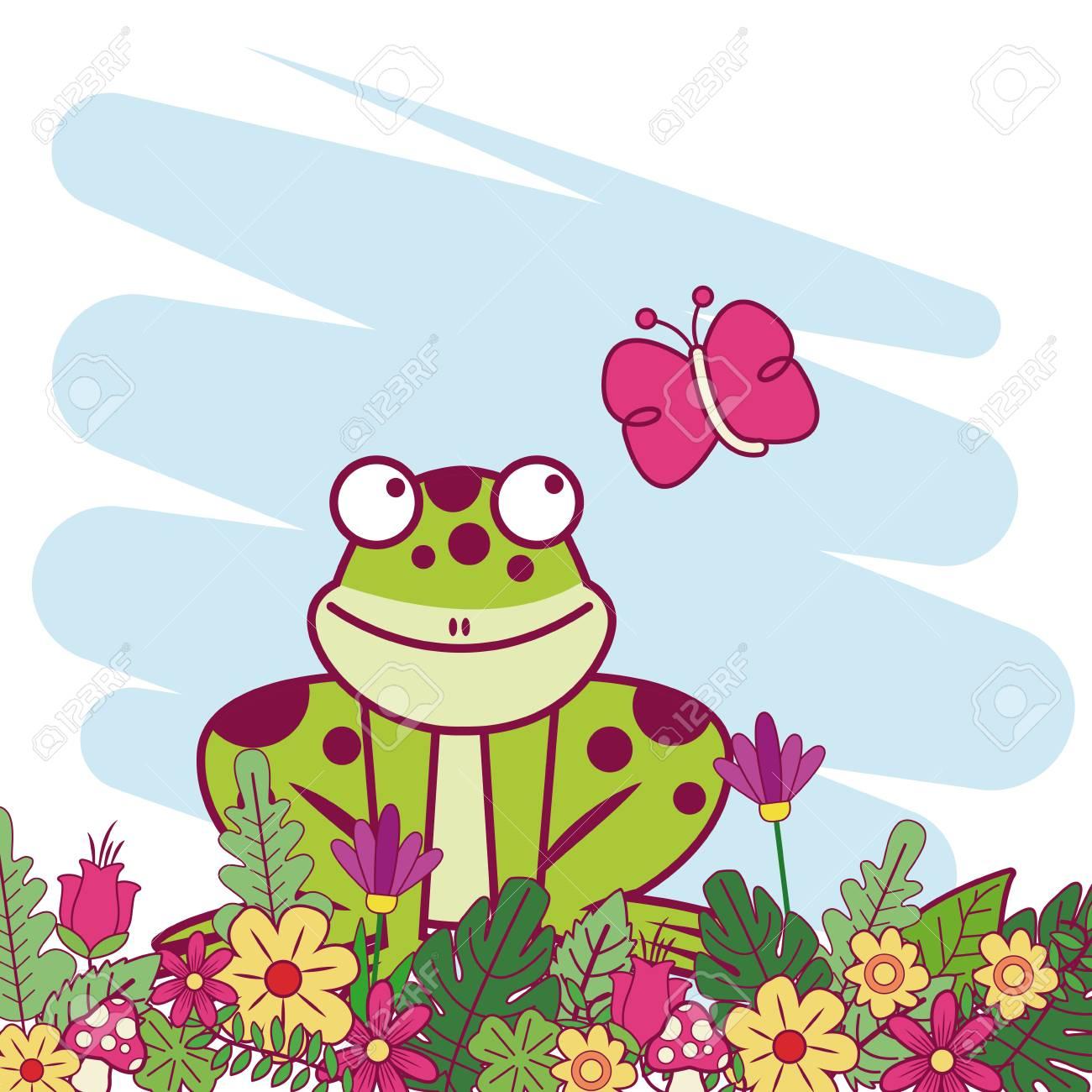 Animales En Primavera Icono De Dibujos Animados Ilustración