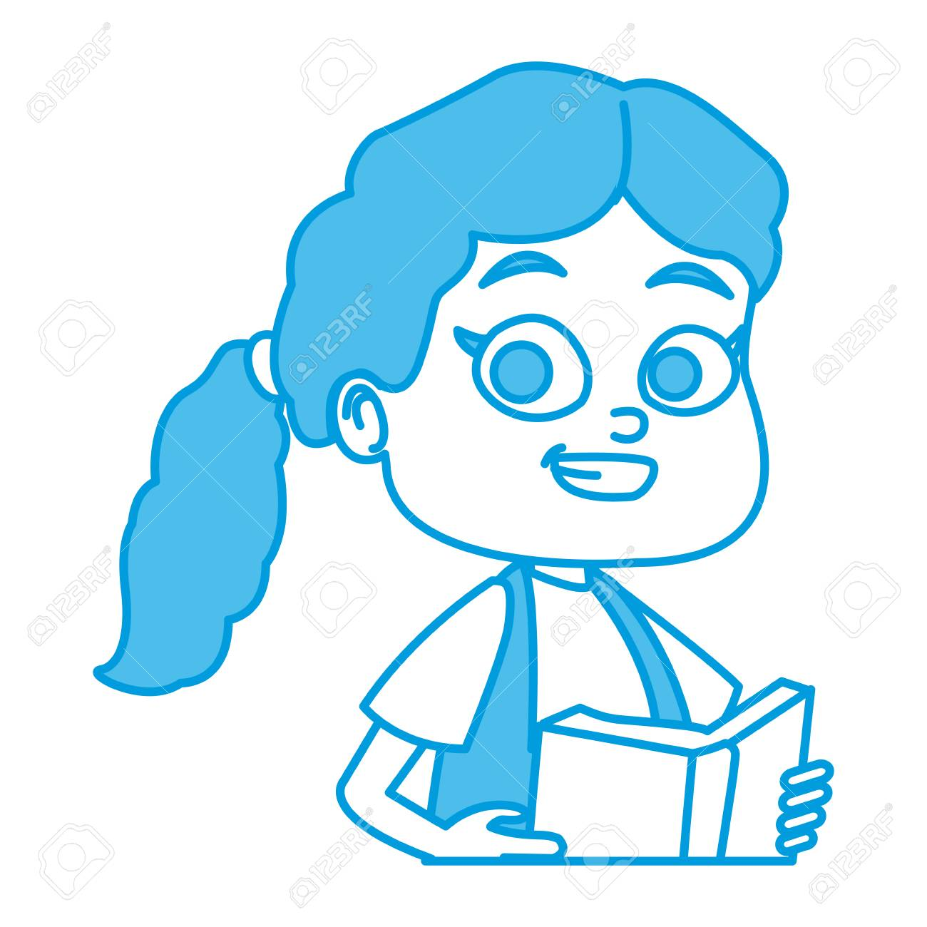 かわいい女子高生漫画アイコンベクトルイラストグラフィックデザインのイラスト素材 ベクタ Image