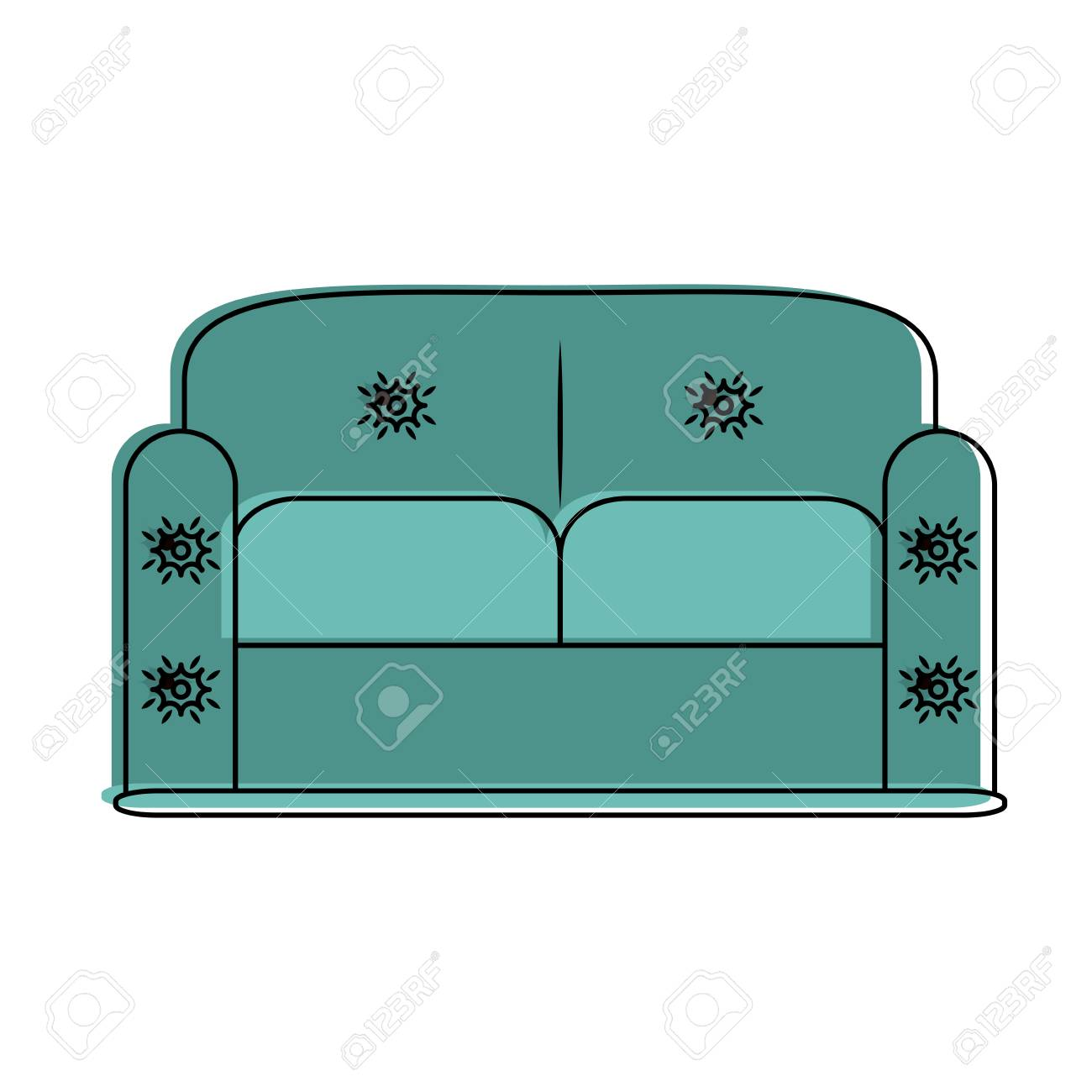 Sofa Furniture Isolated Icon Vector Illustration Graphic Design