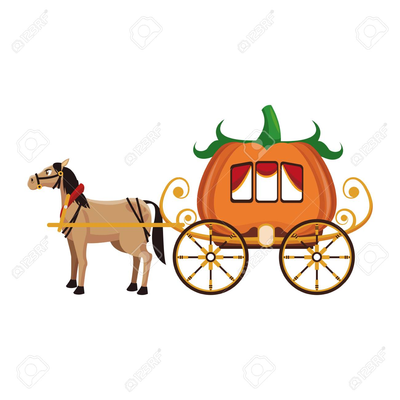 Pumpkin carriage with horse cartoon icon vector illustration graphic design - 95559771