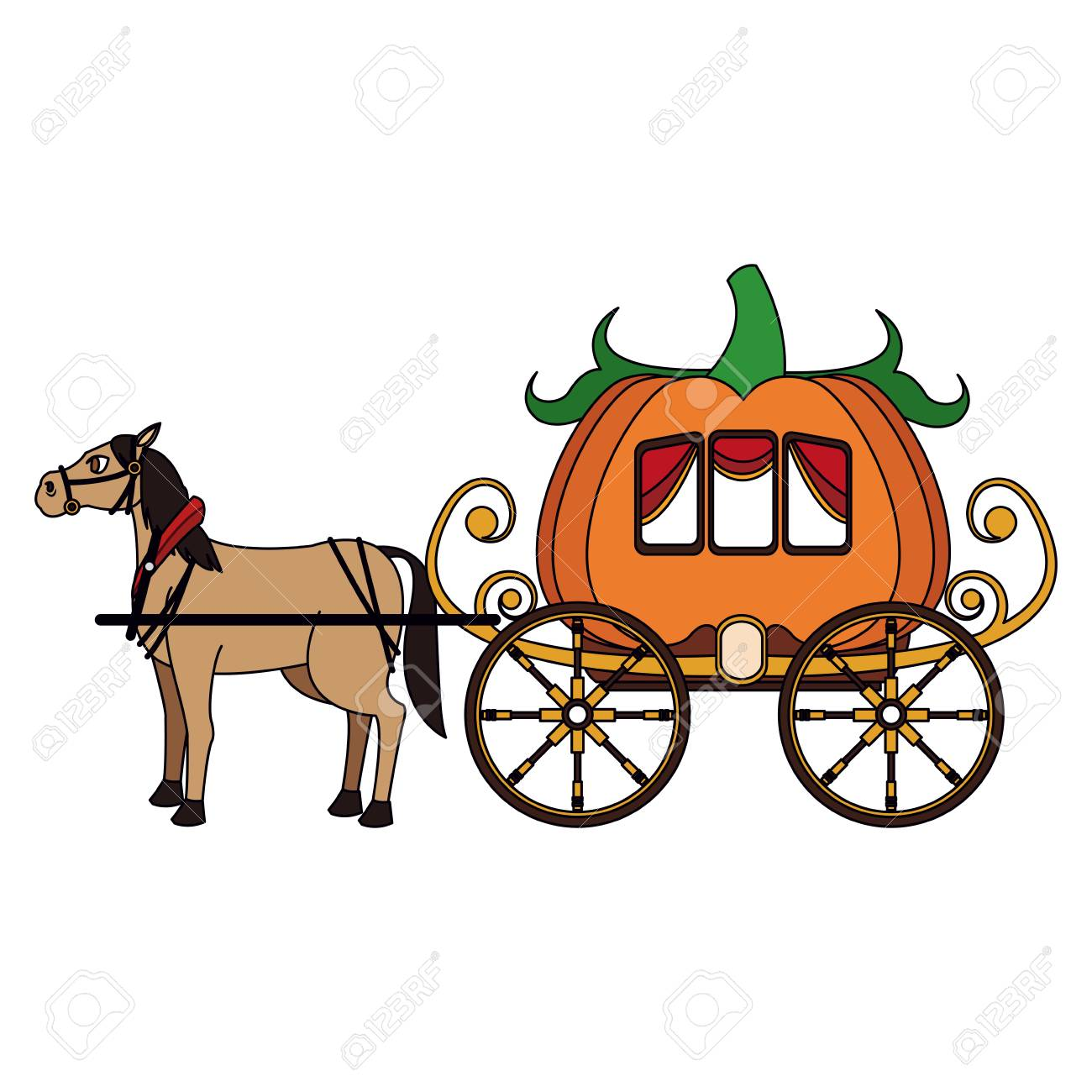 Pumpkin Carriage With Horse Cartoon Icon Vector Illustration Royalty Free Cliparts Vectors And Stock Illustration Image 95561125