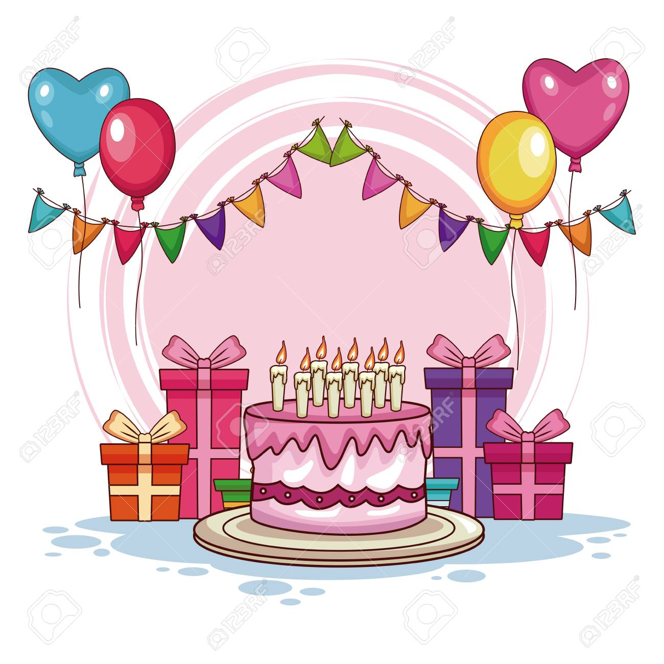 Birthday Gifts And Cake With Balloons Vector Illustration Graphic Design Stock