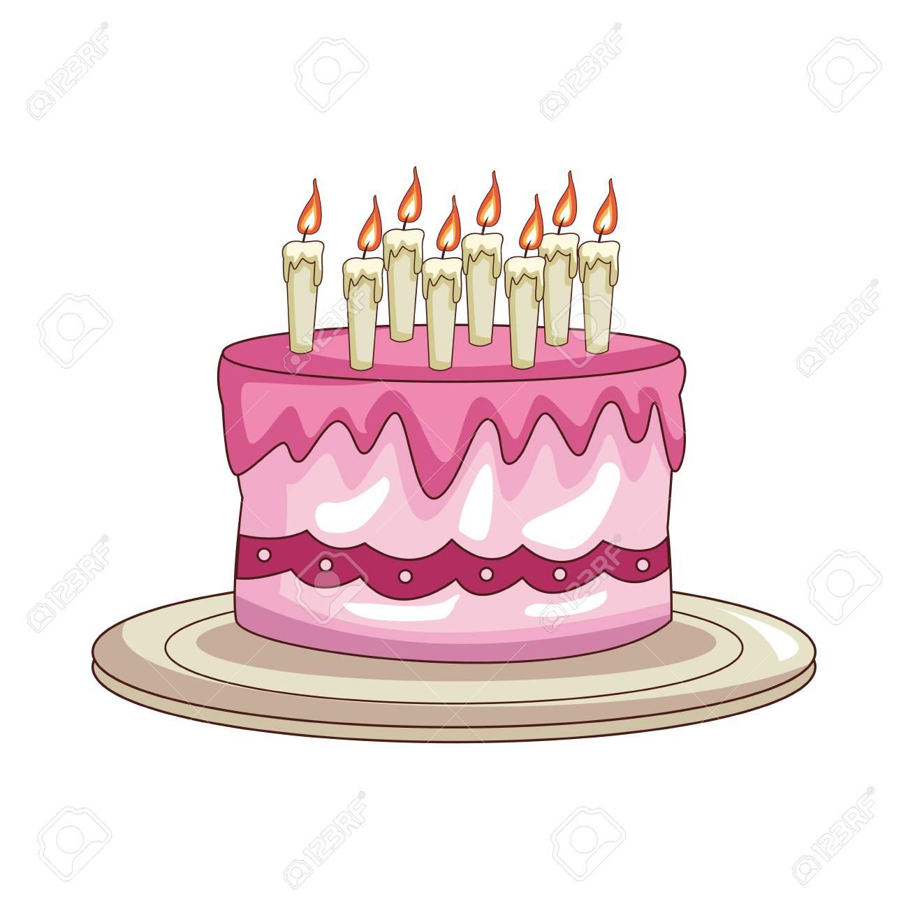 Birthday Cake Cartoon Vector Illustration Graphic Design Stock