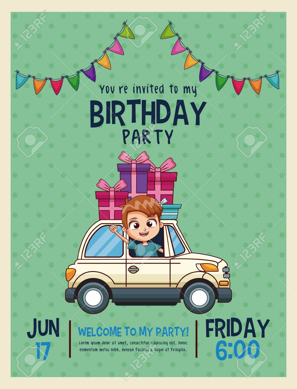Kids Birthday Invitation Card Vector Illustration Graphic Design