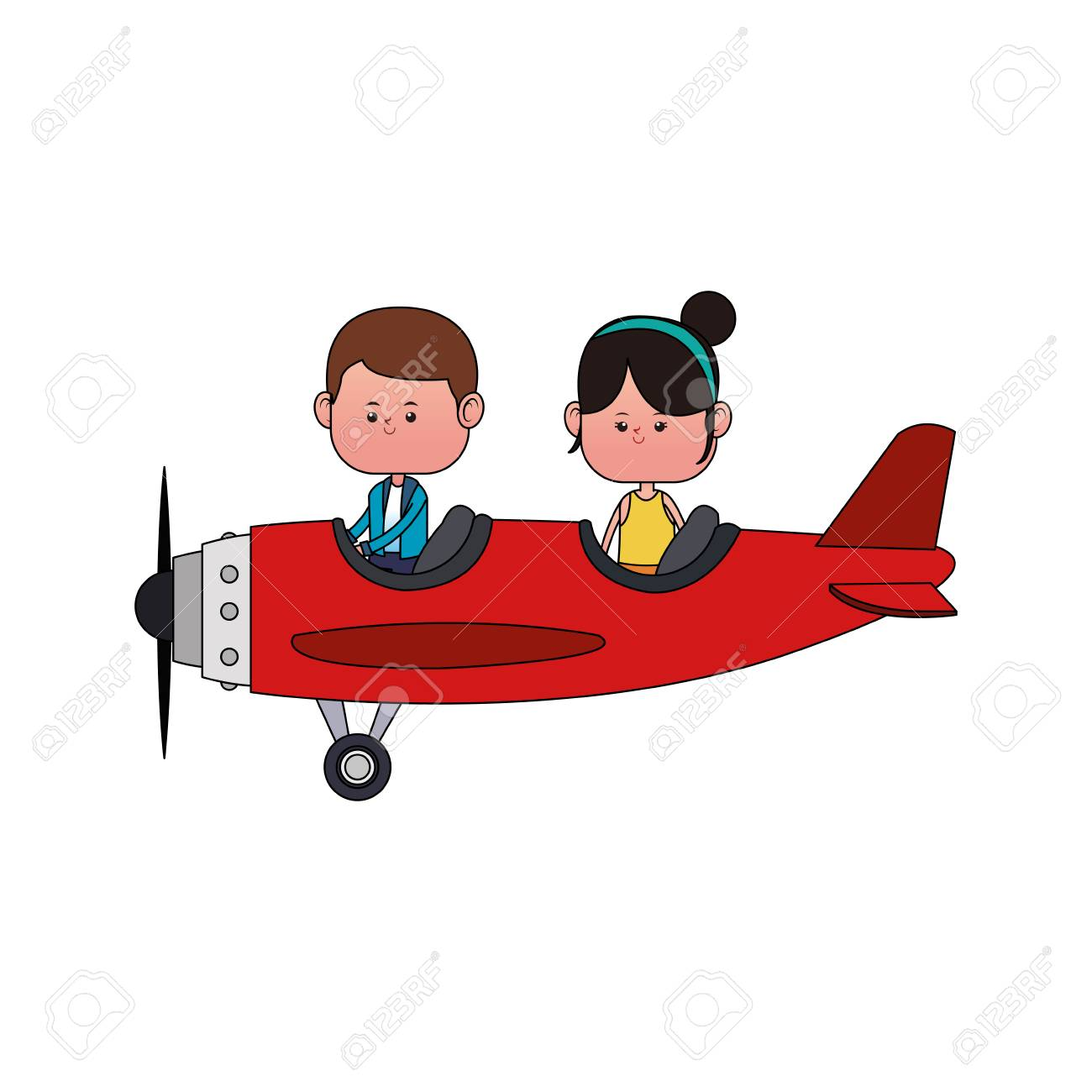 Cute Kids Flying An Airplane Cartoon Vector Illustration Graphic